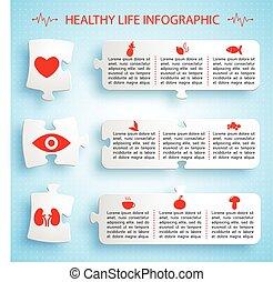 gezonde levensstijl, raadsel, ontwerp, infographics