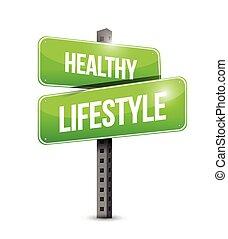 gezonde levensstijl, straat, illustratie, meldingsbord