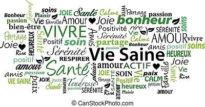 gezonde levensstijl, woord, franse , wolk