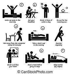 gezonde , levensstijlen, dagelijks routine