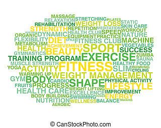 gezonde , lifestyle., woord, wolk, conce