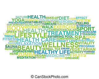 gezonde , lifestyle., woord, wolk