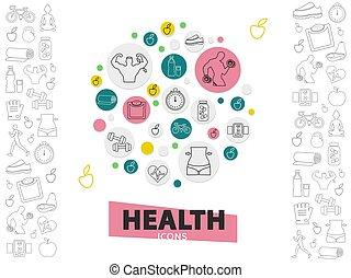 gezonde , lijn, levensstijl, verzameling, iconen