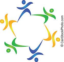 gezonde , logo, teamwork, mensen