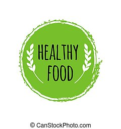 gezonde , logo., vegan voedsel, groene, brush., cirkel, badge