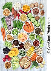 gezonde , macrobiotic, voedingsmiddelen, sampler