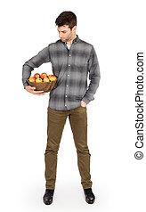 gezonde , man, met, kom, volle, van, appeltjes