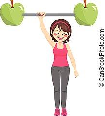 gezonde , meisje, sterke, sportende