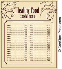 gezonde , menu, vegetarian voedsel, vector, decorations., kaart