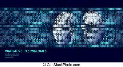 gezonde , nieren, urologie, intern, organs., binaire code, data, flow., arts, online, vernieuwend, technologie, vector, illustratie