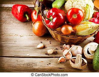 gezonde , organisch, vegetables., bio, voedingsmiddelen