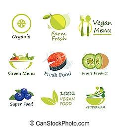 gezonde , organisch voedsel, etiket, plat, ontwerp