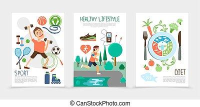 gezonde , plat, brochures, levensstijl