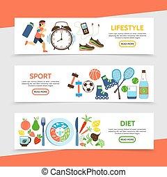 gezonde , plat, horizontaal, levensstijl, banieren