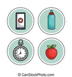 gezonde , plat, levensstijl, iconen