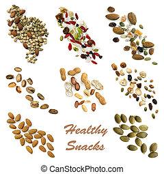 gezonde , snacking, voedingsmiddelen, verzameling
