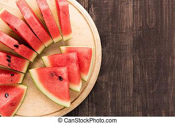gezonde , snede, watermeloen, op, een, hout, achtergrond