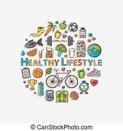 gezonde , sticker, levensstijl, cirkel