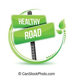 gezonde , straat, straat, illustratie, meldingsbord