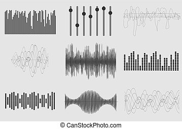 gezonde technologie, pulse., achtergrond., visueel, vector, muziek, golven, black , witte , audio, muzikalisch, illustration.