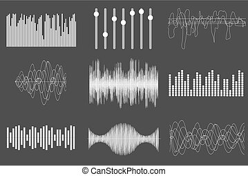 gezonde technologie, pulse., visueel, vector, muziek, witte , audio, muzikalisch, waves., illustration.