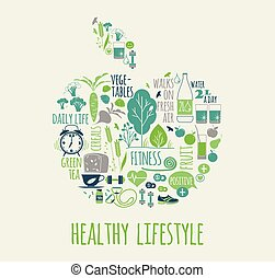 gezonde , vector, levensstijl, illustration.