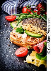 gezonde , vervaardiging, broodje, fris, ingredienten