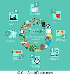 gezonde , voeding, en, fitness, activiteit, infographic