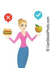 gezonde , voedsel, vrouw, kiezen, vrolijke
