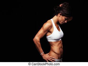 gezonde, vrouw, jonge, sportkleding
