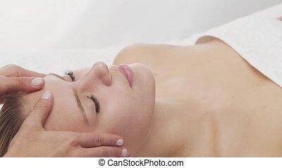 gezonde vrouw, salon., therapie, thai, masseren, huid,...