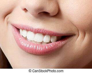 gezonde vrouw, teeth, en, glimlachen