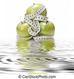 gezonde , weerspiegelingen, dieet