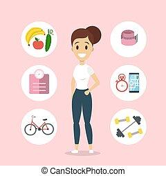 gezonde , woman., levensstijl