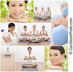 gezonde , yoga, levensstijl, montage, vrouwen, op, spa