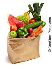 gezonde , zak, groentes, volle, vruchten