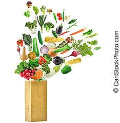 gezonde , zak, kruidenierswinkel, voedingsmiddelen