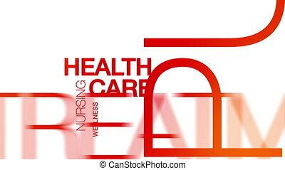 gezondheid, animatie, woord, wolk, care
