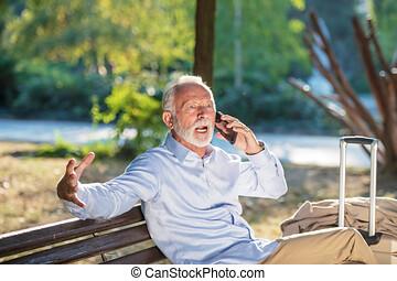 gezondheid, bejaarden, concept, oude man, hartstilstand, hartaanval, in park, ernstig, heartache