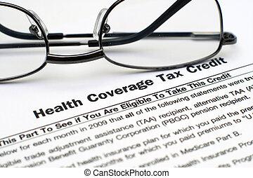 gezondheid, belasting, dekking, krediet