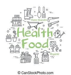 gezondheid, concept, -, voedingsmiddelen, spandoek, groene, ...