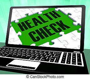 gezondheid controle, op, draagbare computer, optredens, goed...