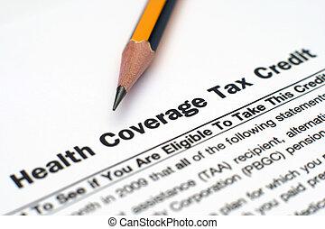 gezondheid, dekking, belasting, krediet