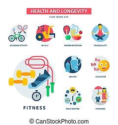 gezondheid, en, levensduur, iconen, moderne, activiteit, duurzaamheid, vector, natuurlijke , gezonde , leven, product, etenswaar voeding, illustratie