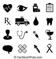 gezondheid, en, medisch, pictogram, set