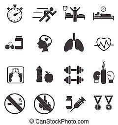gezondheid, icons., fitness