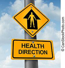 gezondheid, richting