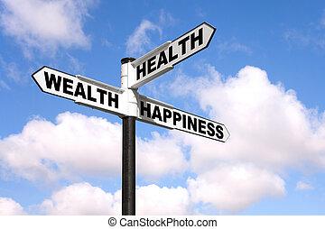 gezondheid, rijkdom, geluk, wegwijzer