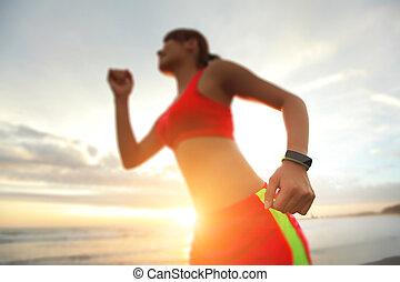 gezondheid, sport vrouw, met, smart, horloge
