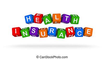 gezondheid verzekering, kleurrijke, teken., veelkleurig, speelbal, blocks.